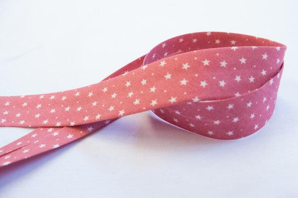 Stjerneskråbånd gl rosa 2cm bred
