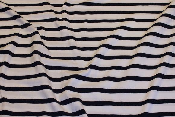 Tværstribet bomuldsjersey i hvid og marine