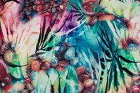 Viscose-mousselin med blade og sten i akvarelfarver
