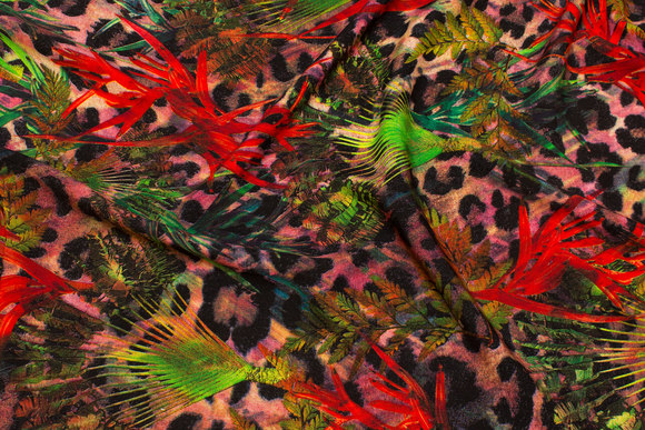 Viscose-mousselin i rød, grøn og sort
