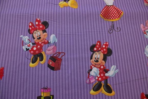 Minnie Mouse på lilla stribet bomuld