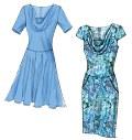 Kjole med figursyet overdel og lynlås bagpå.  A, B og C: semi-figursyet, foeret nederdel.