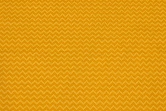 Gul patchwork bomuld med zig zag mønster på tværs
