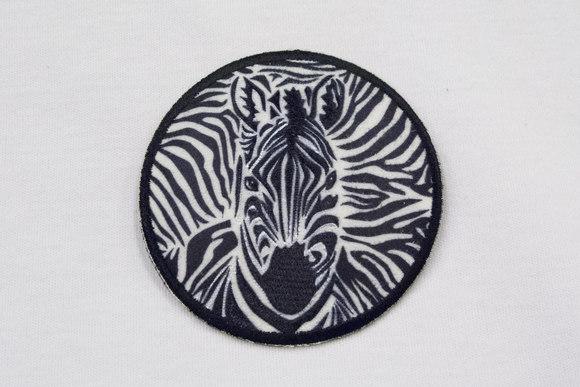 Zebra strygemærke sort/hvid Ø6,5cm