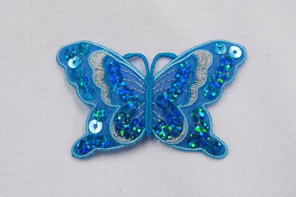 Sommerfugl strygemærke aqua 7x4cm
