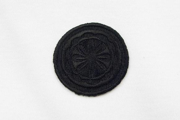 Rundt mærke, sort mønster, Ø 4cm