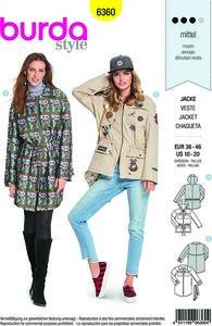 Parka jakke-frakke med pynt og lommer. Burda 6360.