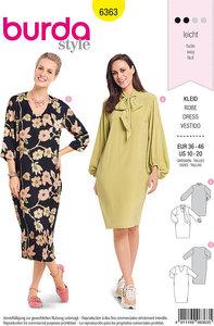 Lange kjole med halsudskærings-variationer. Burda 6363.