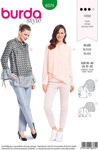 Bluse-sweatshirt med ærmevidde og skrå bund. Burda 6374.