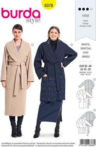 Elegant frakke med omslag og taljebinding. Burda 6378.