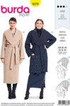 Burda 6378. Elegant frakke med omslag og taljebinding.