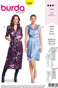 Festlige kjoler med slå-om effekt og talje. Burda 6384.