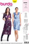 Burda 6384. Festlige kjoler med slå-om effekt og talje.