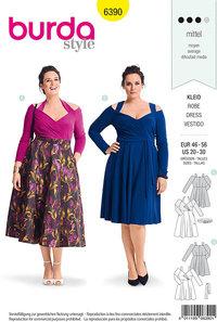 Retro-kjole med skulderstropper. Burda 6390.