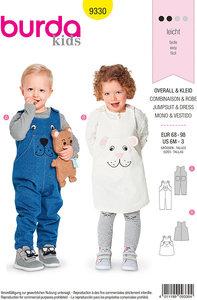 Bukser, overalls, kjole til børn. Burda 9330.
