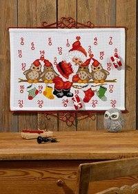 Julepakkekalender med Ugler på gren. Permin 34-7257.
