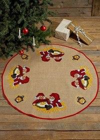 Juletræstæppe med nisser med grød. Permin 45-7268.