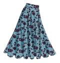 Klokkeformet nederdel har taljebånd, læg og lynlås bagpå. Ab, og D: stivet sømlinje. D: påsat båndender. E: formet sømlinje, vrangside ses. C, E og F: smal søm.
