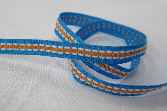 Blå/orange vævet bånd 0,7cm