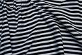 Bomuldsjersey, 7 mm striber i sort og hvid