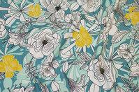 Bomuldsjersey med blomster i mint, petrol, hvid og gul
