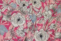 Bomuldsjersey med blomster i rosa, pink, hvid og lyseblå