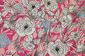 Bomuldsjersey med blomster i rosa, pink, hvid og lyseblå.