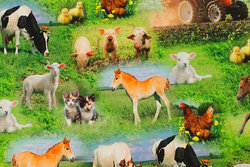 Bomuldsjersey med søde bondegårdsdyr
