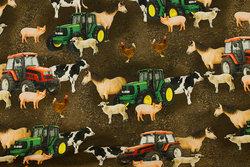 Brun bomuldsjersey med traktorer og bondegårdsdyr