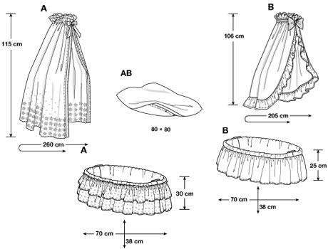 Vuggedække eller krybbedække til indendørs vugge. I to variationer inklusiv puder/hynder på 80 x 80 cm.
