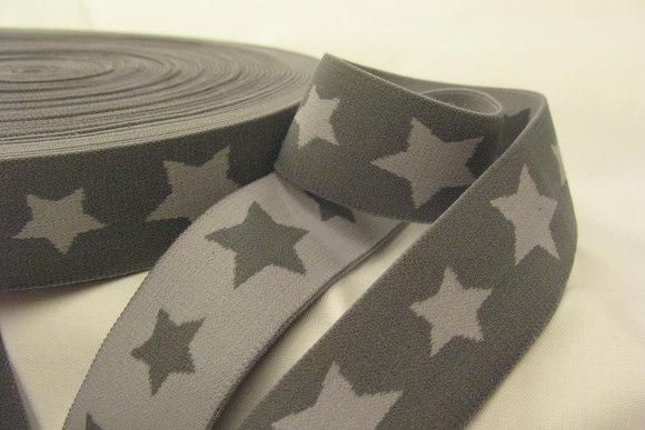 Elastik - grå stjerner 3cm bred