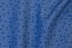Fast, blå bomuld med lille 15 mm motiv