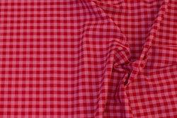 Fast bomuld i rosa og rød tern
