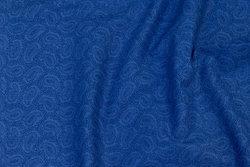Fast, coboltblå bommuld med Paisley mønster