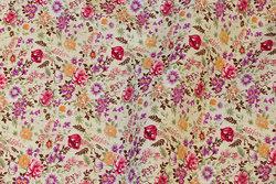 Fast, cremefarvet bomuld med små pink og lilla roser