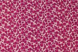 Fast, rosa bomuld med mørk pink blomster