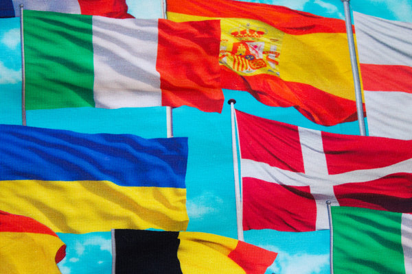 Flot turkis bomuldsjersey med flag
