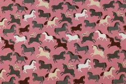 Gammelrosa bomuldsjersey med heste