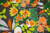 Grå bomuldsjersey med orange blomster i retrostil