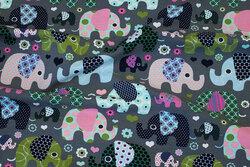 Grå bomuldsjersey med retro-elefanter