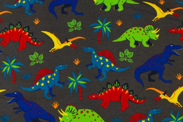 Gråbrun, let stræk- isoli med kulørte dinosaurer