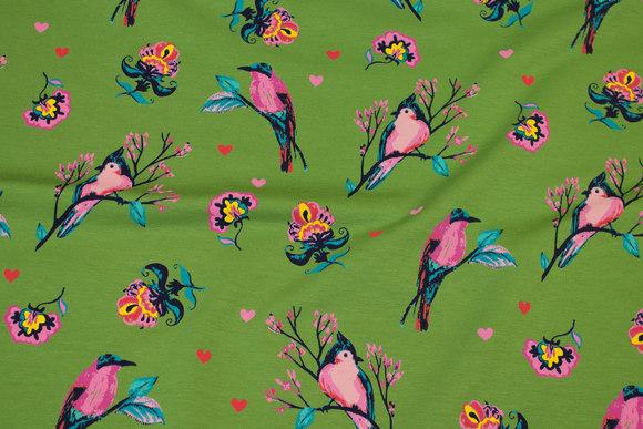 Grøn bomuldsjersey med pink fugle