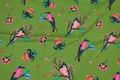 Grøn bomuldsjersey med pink fugle.