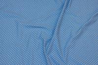Himmelblå bomuldsjersey med små hvide prikker