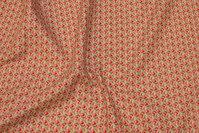 Hvid bomuld med lille mønster i rød og grøn
