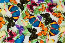 Hvid bomuldsjersey med multifarvede sommerfugle