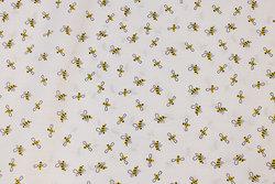 Hvid, fast bomuld med små bier