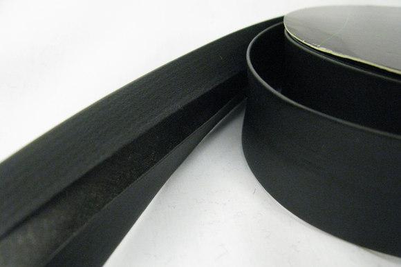 Imiteret læder kantebånd blød sort