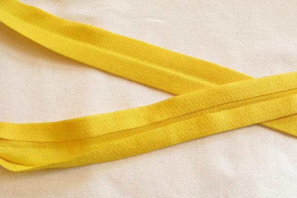 Jersey kantebånd gul 2cm bred