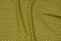 Kiwigrøn bomuld med hvide 1 cm stjerner